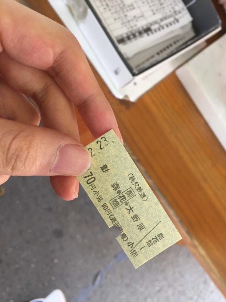 秩父の電車の切符